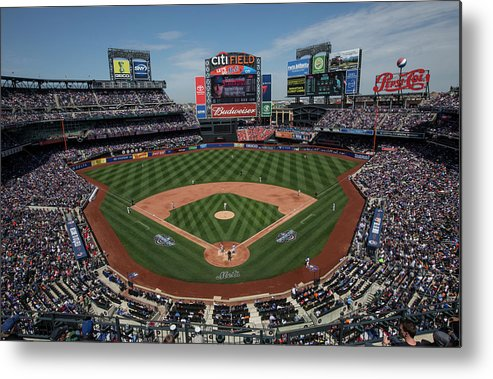 American League Baseball Metal Print featuring the photograph Philadelphia Phillies V. New York Mets by Anthony Causi