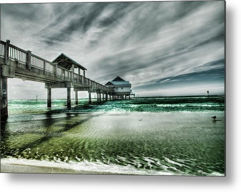 Water's Edge Metal Print featuring the photograph Pier by Chumbley Photography