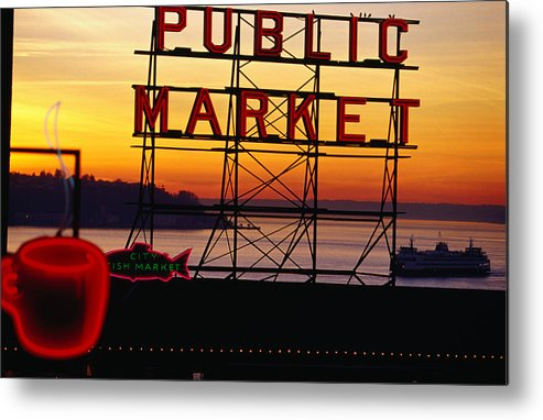 Ferry Metal Print featuring the photograph Pike Place Market Sign, Seattle by Lonely Planet
