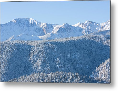 Extreme Terrain Metal Print featuring the photograph Pikes Peak In Fresh Snow by Swkrullimaging