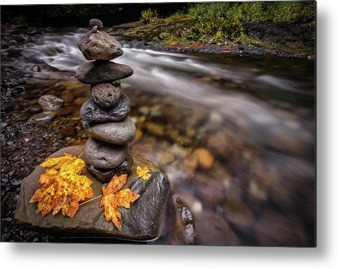 Eagle Creek Metal Print featuring the photograph Pile Of Rocks And Autumn Leaves Next To by Michael Riffle