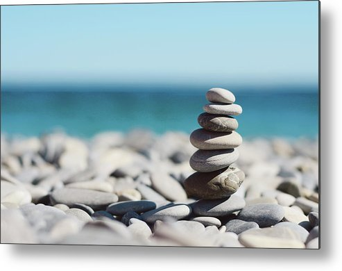 French Riviera Metal Print featuring the photograph Pile Of Stones On Beach by Dhmig Photography