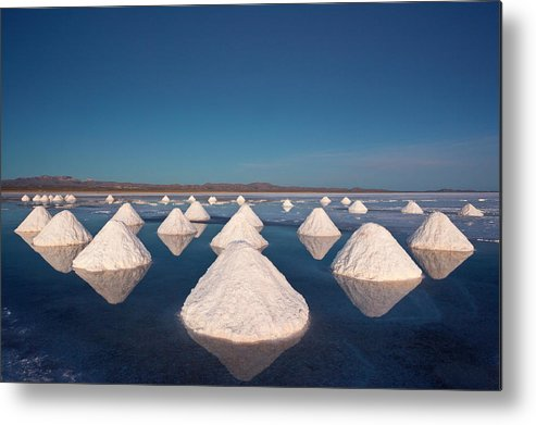 Mineral Metal Print featuring the photograph Piles Of Salt Dry In The Arid by Mint Images/ Art Wolfe