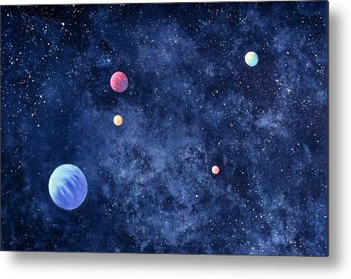 The Media Metal Print featuring the photograph Planets In Solar System by Huntstock