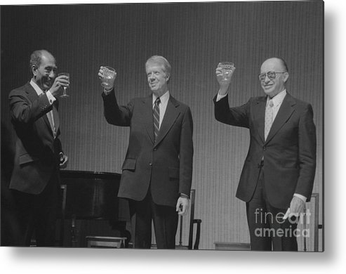 Following Metal Print featuring the photograph Political Leaders Following State Dinner by Bettmann