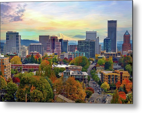 Viewpoint Metal Print featuring the photograph Portland Oregon Downtown Cityscape In by David Gn Photography