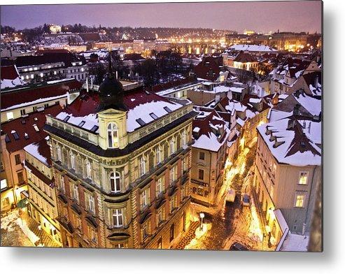 Snow Metal Print featuring the photograph Prague Lights by Usman Baporia