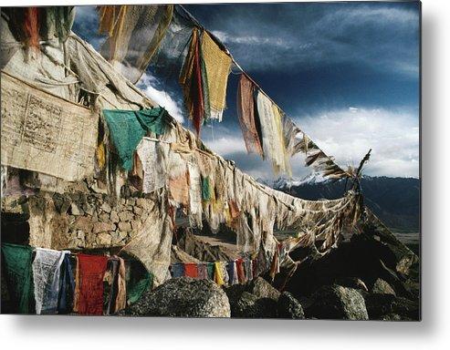 Himalayas Metal Print featuring the photograph Prayer Flags Above Leh, Ladakh, Leh by Richard I'anson