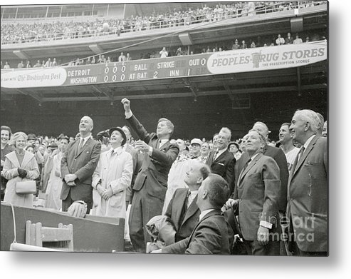 Crowd Of People Metal Print featuring the photograph President Kennedy Tossing Out First by Bettmann