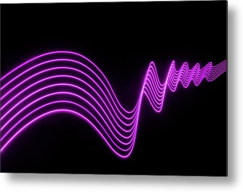 Laser Metal Print featuring the photograph Purple Abstract Lights Trails And by John Rensten