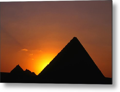 Orange Color Metal Print featuring the photograph Pyramid Of Mycerinus At Giza At Sunset by Anders Blomqvist