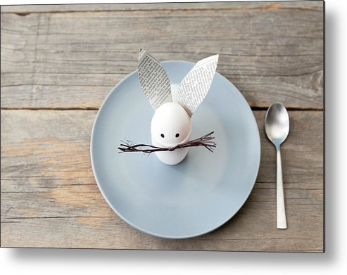 Holiday Metal Print featuring the photograph Rabbit Decoration On Plate by Stefanie Grewel