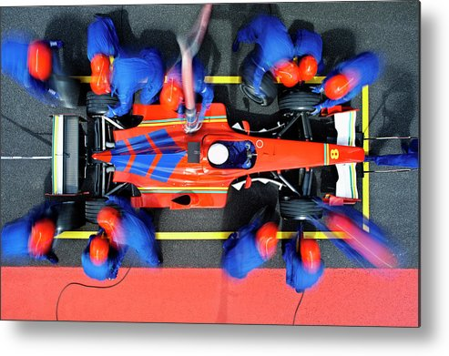 Viewpoint Metal Print featuring the photograph Racecar Driver At The Pit Stop by Fuse