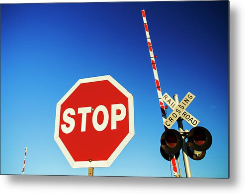 Railroad Crossing Metal Print featuring the photograph Railroad Crossing by Wesley Hitt