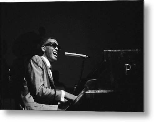 Ray Charles - Musician Metal Print featuring the photograph Ray Charles Behind The Scence At The by Reporters Associes