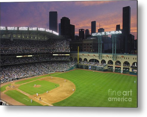 Minute Maid Park Metal Print featuring the photograph Reds V Astros X by Ronald Martinez