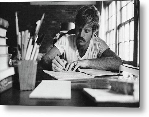Timeincown Metal Print featuring the photograph Robert Redford Writing At Desk by John Dominis