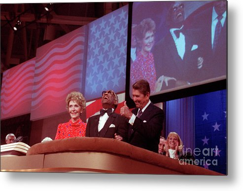 Thank You Metal Print featuring the photograph Ronald And Nancy Reagan With Ray Charles by Bettmann