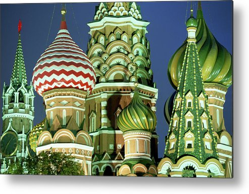 Travel14 Metal Print featuring the photograph Russia, Moscow, Red Square, St Basils by Peter Adams
