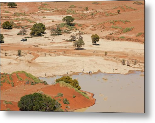Namibia Metal Print featuring the photograph Safari Tourists By Sossusvlei Pan by Bjarte Rettedal
