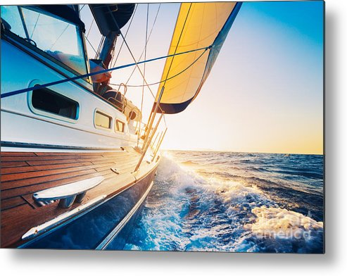 Small Metal Print featuring the photograph Sailing Into The Sunset by Epicstockmedia