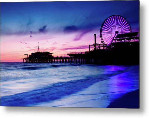Commercial Dock Metal Print featuring the photograph Santa Monica Pier With Ferris Wheel by Pawel.gaul