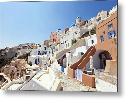 Steps Metal Print featuring the photograph Santorini, Churches And Houses by Richmatts