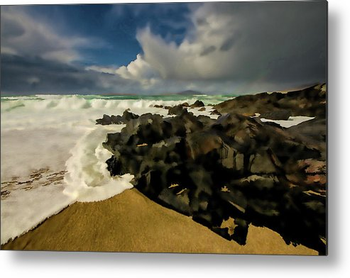 Scarista Metal Print featuring the mixed media Scarista Beach Digital Painting by Smart Aviation