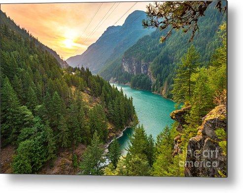 Country Metal Print featuring the photograph Scene Over Diablo Lake When Sunrise by Checubus