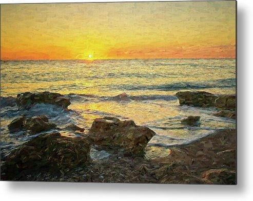 Seascape Metal Print featuring the digital art Sea Shore Glow by Steve DaPonte