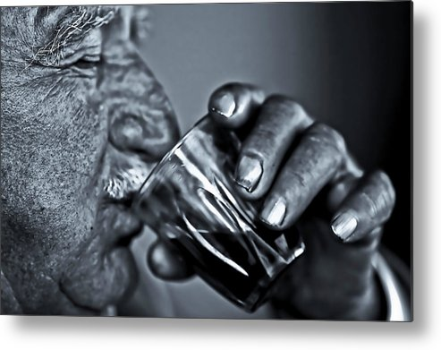 People Metal Print featuring the photograph Senior Man Drinking Wine by Nasos Zovoilis