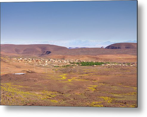 Built Structure Metal Print featuring the photograph Settlement Leaving Ouarzazate To Agdz by Paul Boyden - Polimo