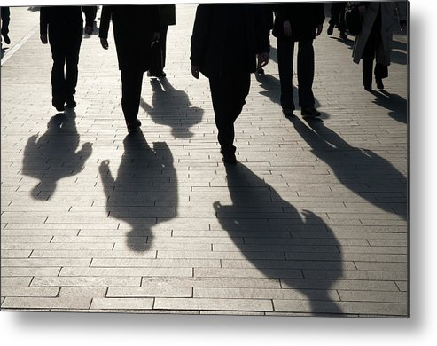 Shadow Metal Print featuring the photograph Shadow Team Of Commuters Walking On by Peskymonkey