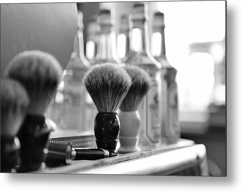 Office Metal Print featuring the photograph Shaving Brushes At Barbershop by Lorado