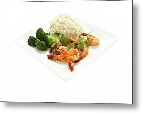 Broccoli Metal Print featuring the photograph Shrimp Stir Fry On Plate On White by Thomas Northcut