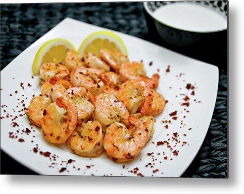 Savory Food Metal Print featuring the photograph Shrimps With Chili by Wojciech Wisniewski
