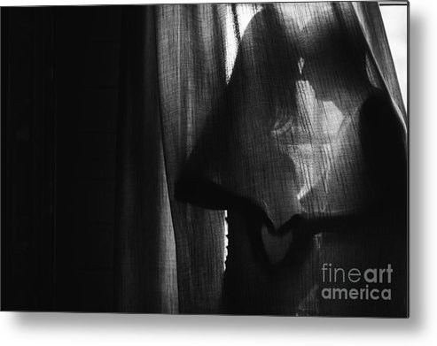 Unborn Metal Print featuring the photograph Silhouette Beautiful Pregnant Woman And by Versta