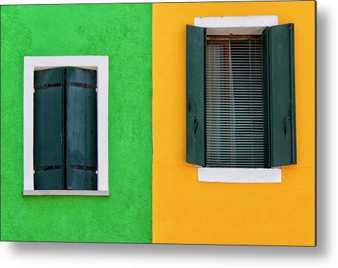 Tranquility Metal Print featuring the photograph Sisters Windows, Burano, Italy by Stefan Cioata