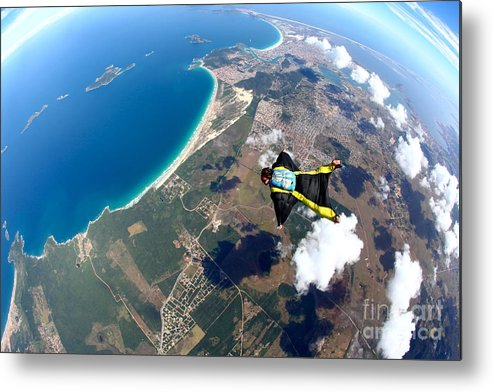 Altitude Metal Print featuring the photograph Skydive Wing Suit Over Brazilian Beach by Rick Neves