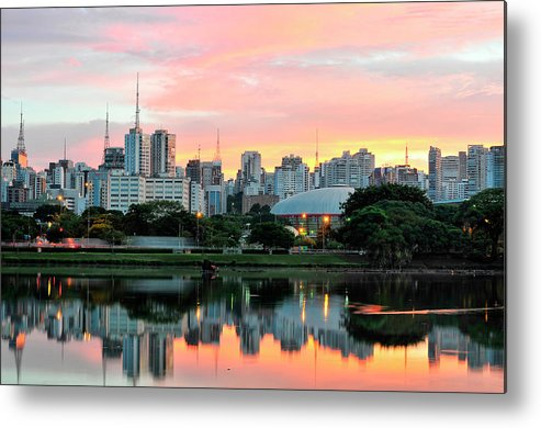 Tranquility Metal Print featuring the photograph Skyline With Reflections On Lake At by © Wagner Garcia Photography