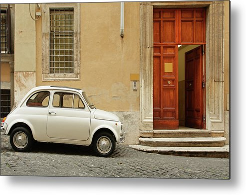 Steps Metal Print featuring the photograph Small Coupe Parked Near A Doorway On A by S. Greg Panosian