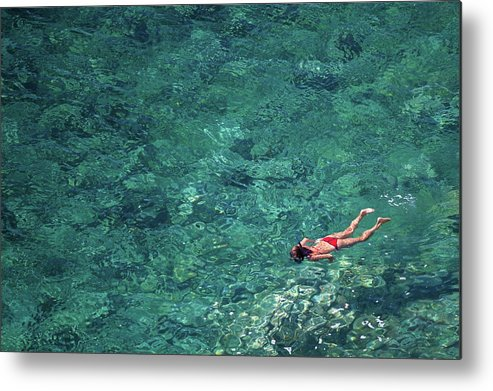 Recreational Pursuit Metal Print featuring the photograph Snorkeling In The Mediterranean Sea by Photovideostock