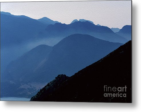 Italy Metal Print featuring the digital art Soft Sicilian Blues In The Hills Beyond Lago Rosmarina, Caccamo, Sicily, Italy by Terence Kerr