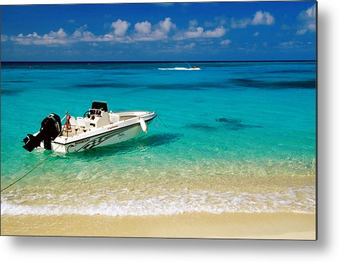 Tranquility Metal Print featuring the photograph Speedboat Moored At Conroy Beach by Richard Cummins