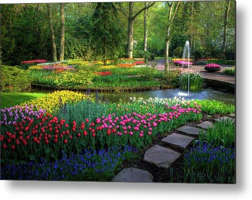 Netherlands Metal Print featuring the photograph Springtime Keukenhof Gardens With by Darrell Gulin