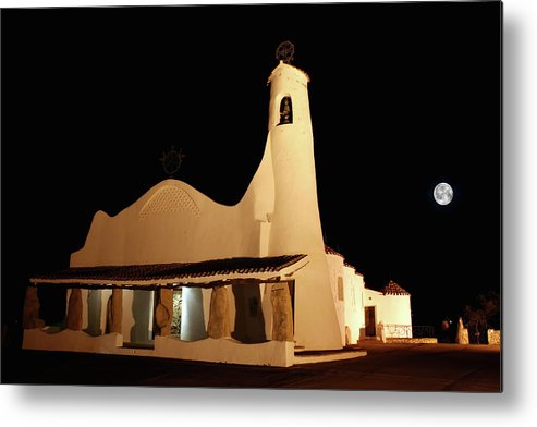 Art And Craft Product Metal Print featuring the photograph Stella Maris Church In Porto Cervo With by Photovideostock