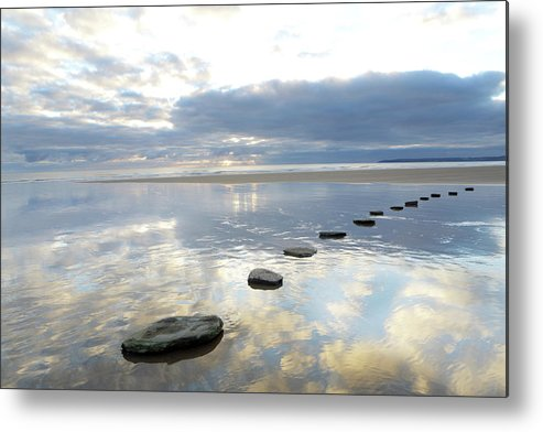 Tranquility Metal Print featuring the photograph Stepping Stones Over Water With Sky by Peter Cade