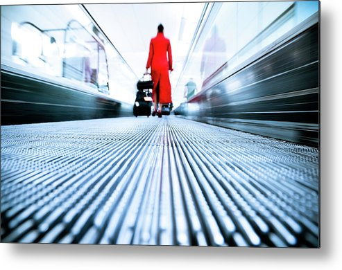 Pedestrian Metal Print featuring the photograph Stewardess Airport Travel by Ferrantraite
