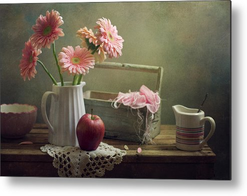 Spoon Metal Print featuring the photograph Still Life With Pink Gerberas And Red by Copyright Anna Nemoy(xaomena)