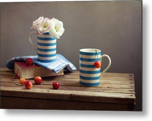 Cherry Metal Print featuring the photograph Still Life With Striped Cups by Copyright Anna Nemoy(xaomena)